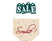 Smile pennant flag - home decoration - embroidered small flag