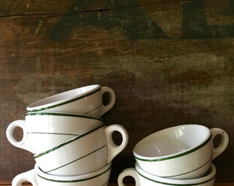 Diner Coffee Cups, Set of Six Double Green Stripe Mugs ca. 1950s
