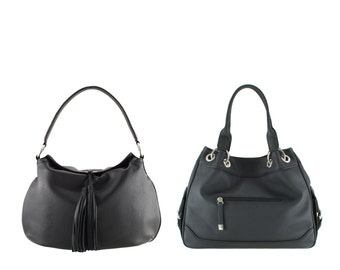Leather tote GINA, NIKO // black, brown, white (Italian calf skin) - FREE shipping
