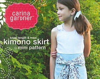 knee-length & maxi Kimono Skirt mini pattern by Carina Gardner