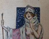 Antique French Painting Art Deco Nude Ink and Watercolor The Snow Queen