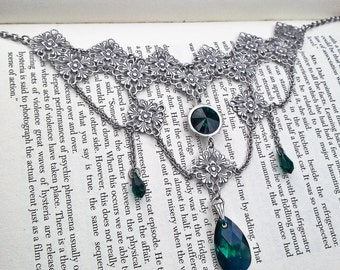 Green Gothic Choker Victorian Gothic Swarovski Necklace Filigree Necklace Crystal Necklace Victorian Gothic Jewelry Statement Necklace