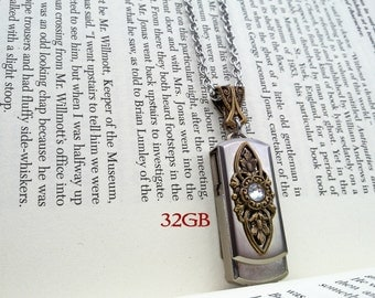 USB Necklace USB Pendant Flash Drive Necklace Memory Stick Necklace Swarovski Necklace Gothic Necklace Gothic Jewelry