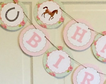 Shabby Chic Horse Happy Birthday or Baby Shower Banner - Party Packs Available