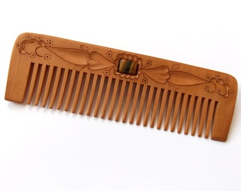 Wooden hair comb, Wood carving, Personalized womens gifts, Wide teeth wooden comb, Natural hair accessory, Designed and Handmade, MariyaArts