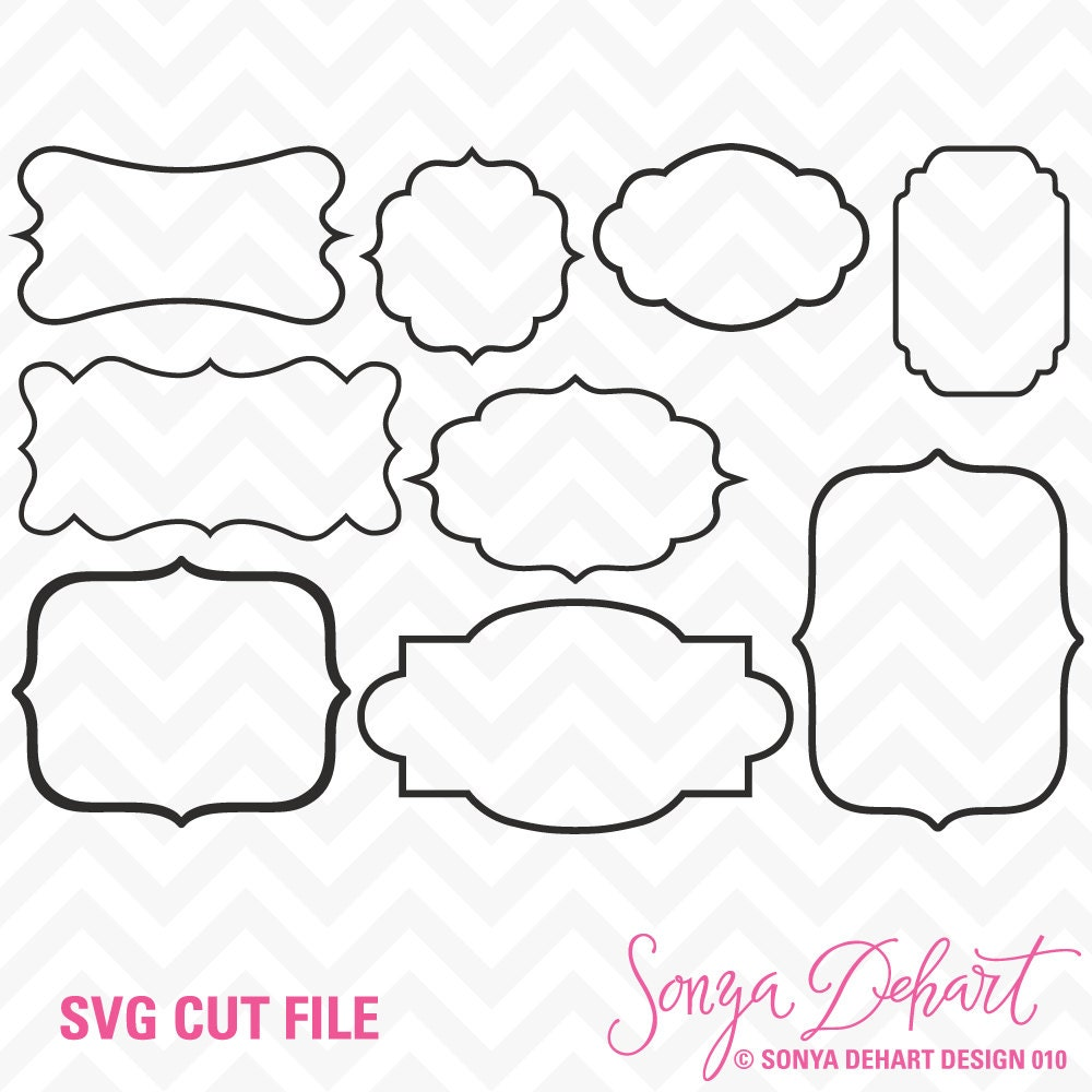 Glasses Frame Outline : 60% OFF SALE Svg Cuttables Outline Frames Cut Files Set DXF
