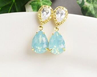 Mint Earrings - Swarovski  Earrings for Bridesmaids - Crystal Earrings Gold -  Mint Green Earrings - Wedding Jewelry - Bridal Jewelry