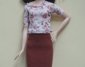 Barbie Fashionistas TALL midi skirt and pink floral top