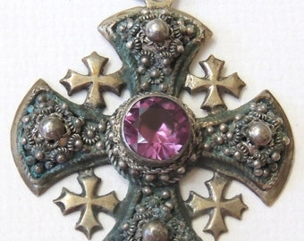 Vintage Silver Crusader Cross With Synthetic Sapphire