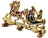 Reserved - Vintage HERMES Horse Carriage Enamel Figural Brooch