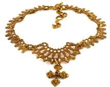 Vintage CHRISTIAN LACROIX Logo Cross Baroque Necklace