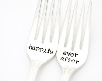 Happily Ever After wedding forks. Silverplated flatware with Ornate Handles. READY TO SHIP.