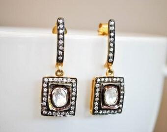 GOLD FILLED 925 White TOPAZ dangling earrings