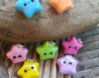 Wish Upon A Star Charm Necklace, Made To Order, Choose Your Color, Gifts For Girls, Leather Necklace, Chain Necklace, Clay Beads, Kawaii