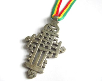 Ethiopian Cross Necklace - Rastafari Jewelry - Reggae Necklace - Red Gold and Green Cord & Authentic African Cross Pendant - Rasta Necklace