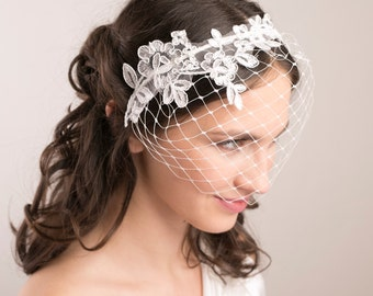 Birdcage headband veil with lace, wedding veil, birdcage headband