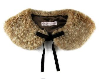Faux fawn fur collar lolita peter pan tippet with satin lining kawaii harajuku japan japanese fashion