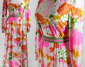 70s Mod Maxi Dress Neon Flower Power Lime Hot Pink Tanner of North Carolina