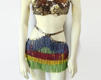 1930s 40 Burlesque Circus Dancer Costume Show Girl Sequins Fringe