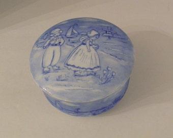 Blue  Hand Painted Dutch Holland  Scene Ceramic Box w Lid