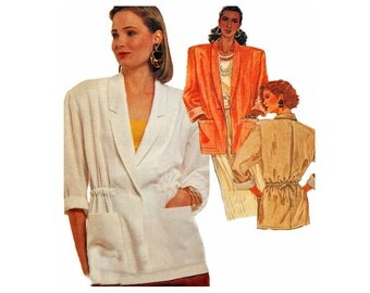 1980s Unlined Jacket Sewing Pattern Sizes 10 12 14 Bust 32 34 36 Drawstring Waist UNCUT FF