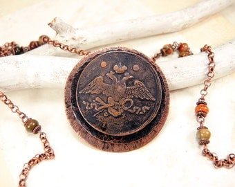 Copper Coin Necklace with antique coin 5 kopecks 1837