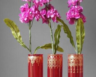 Boho Henna Wedding Vase Set, Painted Wedding Vases for Your Wedding Centerpiece, Gypsy Wedding Decor Bud Vases