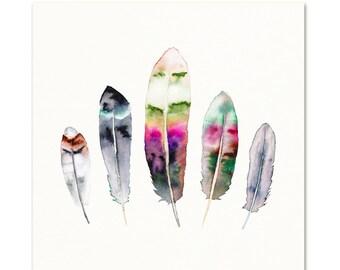 Feather Watercolor Print.  Hippie Wall Art.  Boho Decor.  Watercolor feather art.