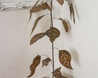 Oversized Brutalist Vintage Plant Sculpture Large Metal