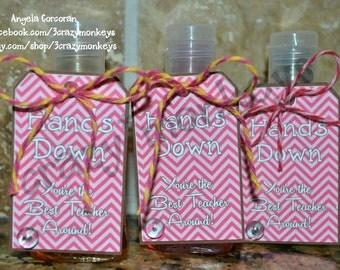 Teacher Gift, Appreciation Week, Hand Sanitizer Bottle, Hands Down, Best Teacher, Clean Hands, Teacher, Pocket Size