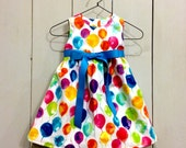 Toddler Dress 12-18m, 18-24m, or 2T, Birthday Party Dress with color choice of Waist Ribbon