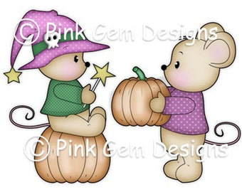 Digi Stamp 'Halloween Mice'  - Mouse, Mice, Makes Cute Christmas Cards, Invitations etc