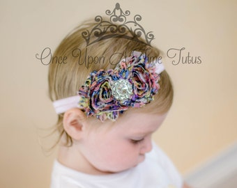 Vintage Floral Print Shabby Flower Rose Headband - Photo Prop - Newborn Baby - Little Girls Hair Bow Accessories  Pink Lavender Printed Bows