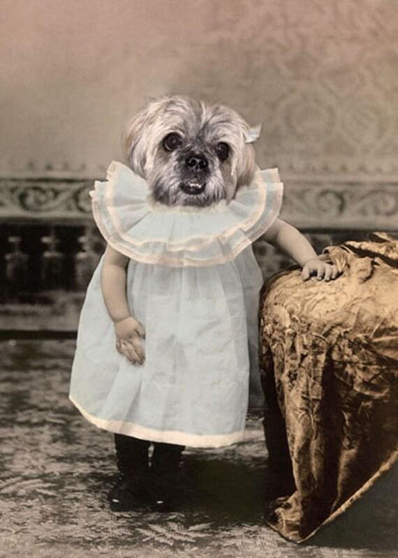 Gretel, Vintage Dog Print, Anthropomorphic, Whimsical Dog Print, Photo Collage Art, Funny Dog Photo, Quirky Art Print, Unique Gift