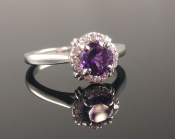 Amethyst and Diamond Halo Engagement Ring - Wedding Ring - 14K White Gold - Colored Stone Ring