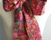 Upcycled Clothing Mad Hatter Bow Tie, Alice in Wonderland, Burgundy Cotton Rainbow Batik Print Costume Accessory