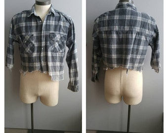 Upcycled Grey Plaid Zombie Shirt, Walking Dead, Men's Button-up Shirt Zombie Invasion, Men's XL