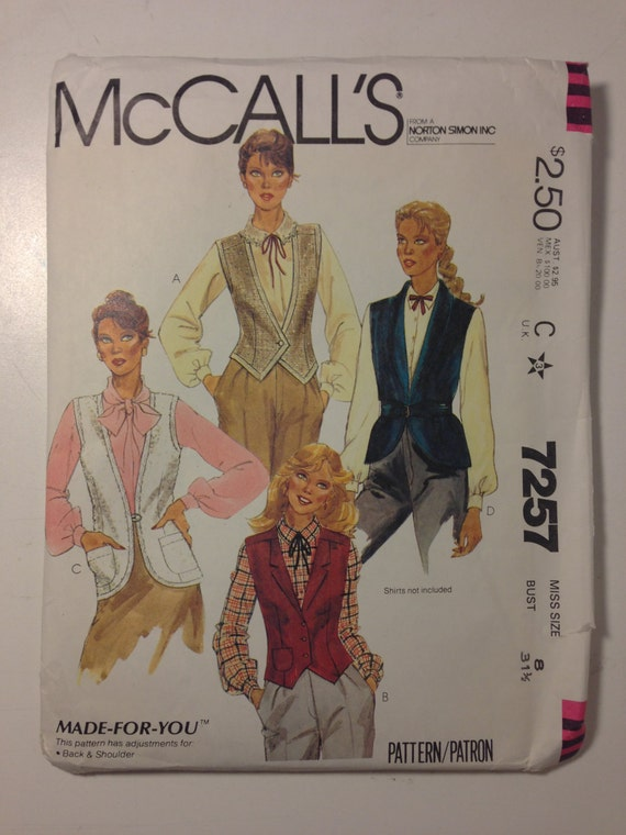 McCalls 7257 Sewing Pattern 80s Misses Vests Size 8
