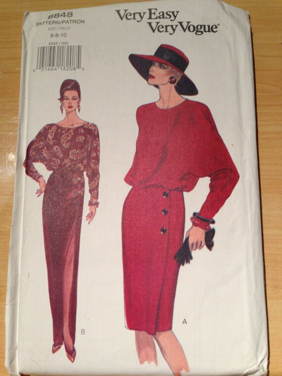 Very Easy Very Vogue Sewing Pattern 8848 90s Uncut Misses Dresses Size 6-8-10