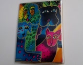Laurel Burch Dogs & Doggies Card Wallet Business Card Holder Credit Cards Subway Pass Fabric Vinyl Protector Cruise ID  Bus Metro Tube Card