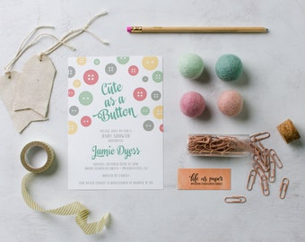CUTE AS A BUTTON baby shower invitation - gender neutral - baby sprinkle invite
