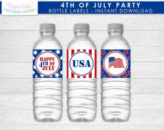 4th of July Theme Water Bottle Labels Printable DIY Digital File - INSTANT DOWNLOAD
