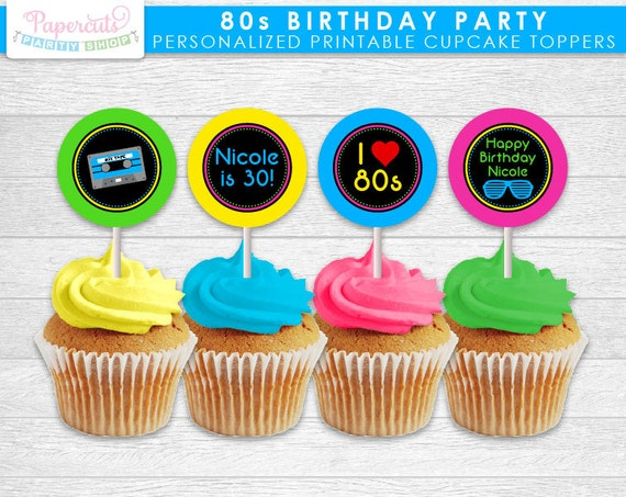 Totally 80s Theme Birthday Party Cupcake Toppers Neon Green