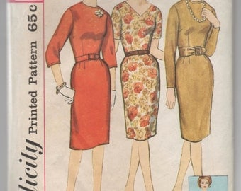 "1960's Simplicity One Piece Dress pattern with V or High Neck - Bust 37"" - No. 4566"