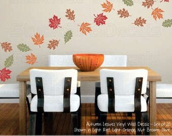 Fall Leaves Wall Decals - Autumn Leaves - Earth Day - Fall Home Decor - Thanksgiving Decor - Autumn Decorations - Fall Decal - Set of 20