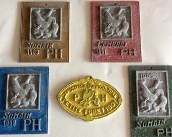 Vintage French Farm Animal Prize Medals