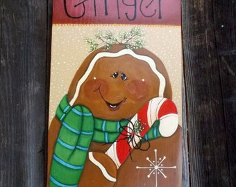 Holiday Decoration, Gingerbread Man, Holiday Wall Decor, Christmas Wall Decor, Christmas Plaque, Handmade Christmas, Holiday Sign
