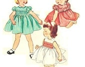 Simplicity 4169 Photocopy of Vintage 50s Adorable Toddler Girls Smocked Dress -Panties- Ruffles Puff Sleeve/Sleeveless Sewing Pattern Size 1