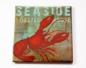 Lobster Magnet, Lobster fridge magnet, Fridge magnet, magnet, Stocking Stuffer, Lobster, Beach House Decor, Beach House Magnet (5360)