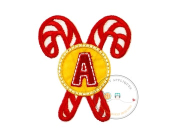 Christmas candie cane initial letter A - iron embroidered fabric applique patch embellishment- ready to ship
